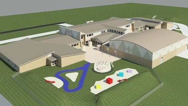 A rendering of the new school in Attawapiskat show the large new building that will accommodate 540 students.