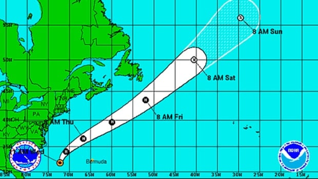 The Canadian Hurricane Centre in Halifax says Cristobal should remain far offshore as it passes south of Newfoundland Friday and over the Grand Banks.