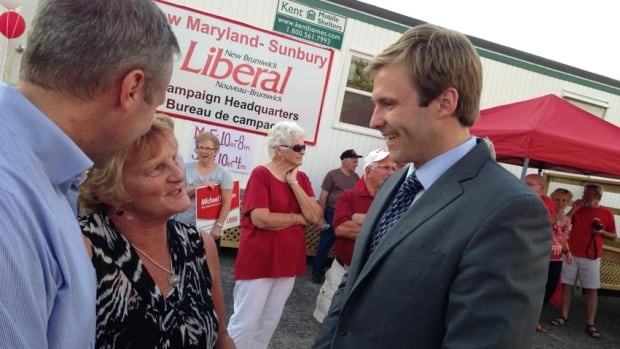Liberal Leader Brian Gallant campaigned in New Maryland on Wednesday, where he raised his party's $900-million infrastructure plan.