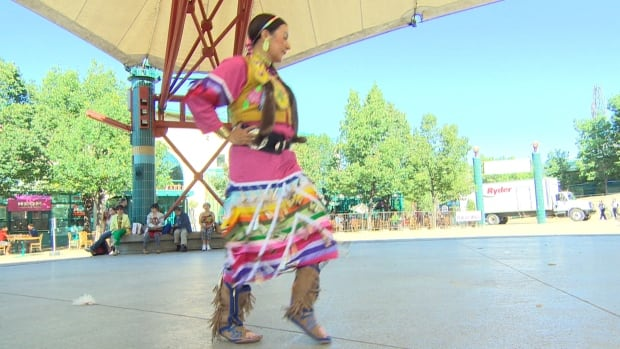 Shannon Bear, a traditional First Nations dancer and human rights activist, performs at an announcement on Thursday for RightsFest, the Canadian Museum for Human Rights' opening weekend celebration.
