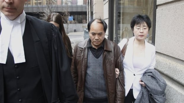 Diran Lin (centre) is asking a judge that some pieces submitted as evidence in the trial of his son Jun Lin's death never be made public.