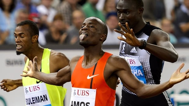 Botswana's Nijel Amos, middle, celebrates his victory between Djibouti's Ayanleh Souleiman, left, and Kenya's David Rudisha during the men's 800-metre final at the Diamond League Weltklasse meet on Thursday in Zurich. Rudisha, the world record holder and Olympic gold medallist, also lost to Amos at last month's Commonwealth Games.
