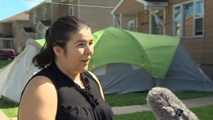 Lisa Hamilton says bedbugs have forced her family into a tent