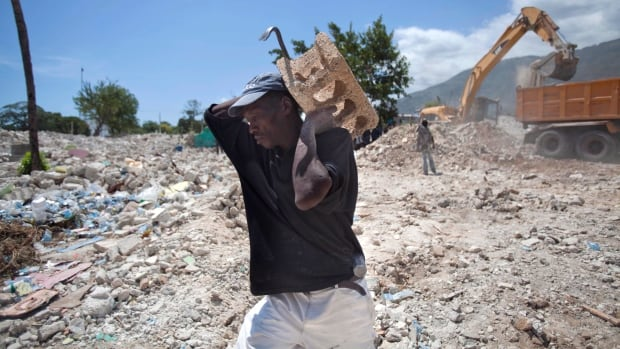 The rubble of houses damaged by the Jan. 12, 2010, earthquake and subsequently razed by bulldozers in downtown of Port-au-Prince, Haiti, continues today.
