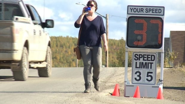 Pedestrians are among those who hope the new electronic sign will slow down speeders.