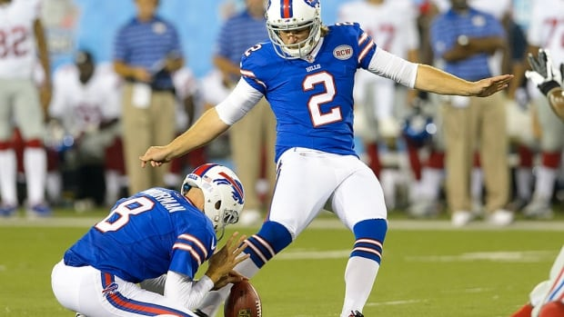 Punter Brian Moorman was among 10 Bills cuts on Friday. The 14-year NFL veteran was back in Buffalo for a second stint.