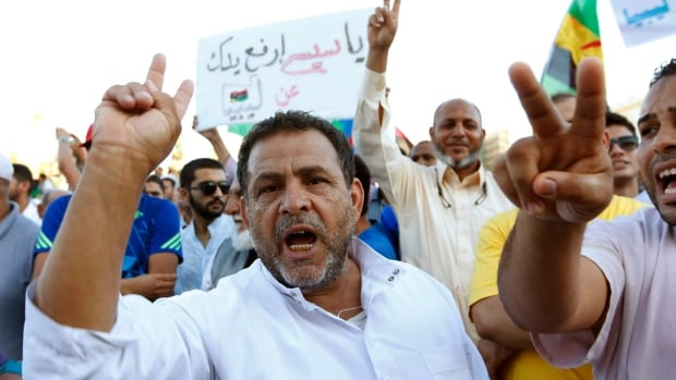 Supporters of Operation Dawn, a group of Islamist-leaning forces mainly from Misrata, demonstrate in Tripoli on Friday against the Libyan parliament and recent airstrikes.