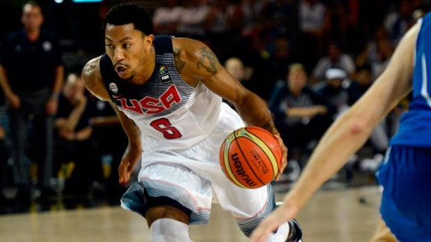 U.S. point guard Derrick Rose in action the nation's rout of Finland at the 2014 FIBA World Cup Saturday in Bilbao, Spain.