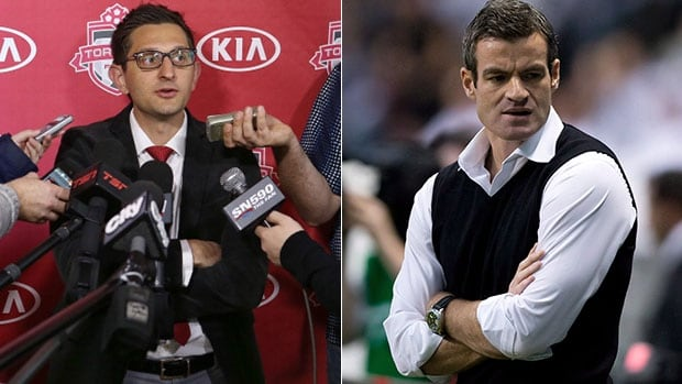 Toronto FC manager Ryan Nelsen, right, accused GM Tim Bezbatchenko, left, of sabotaging his own team following his comments to the players on Friday to 'take it up a notch.'