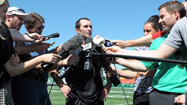 Weston Dressler speaks to reporters upon returning to Mosaic Stadium in Regina, where the Riders and Bombers play Sunday.