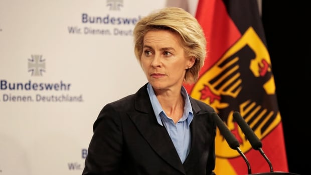 German Defence Ministar Ursula von der Leyen announced Germany's intent to supply arms to the Kurdish Peshmerga forces at the defence ministry in Berlin Sunday.