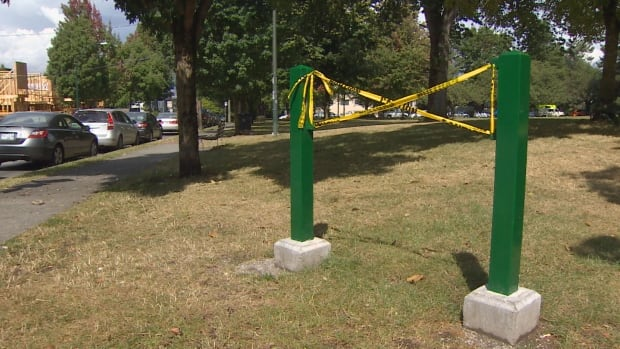 The 'Dude Chilling Park' sign, which was a prank art installation that Vancouver's Park Board eventually installed in Guelph Park in East Vancouver, went missing over the weekend.