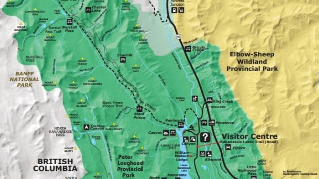 The Burstall Pass day use area is shown in the upper left hand corner of the map and represented by a picnic table. The trail to the pass is 7.5 kilometres one way.