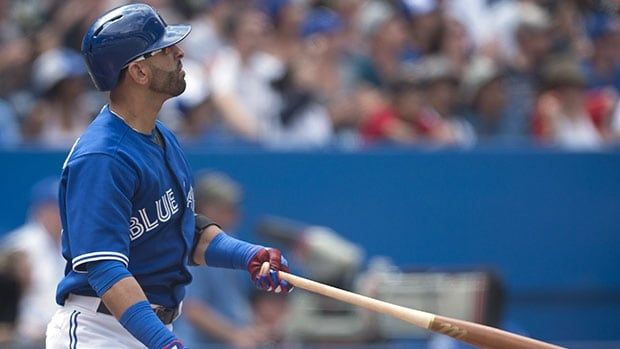 Jose Bautista's solo shot in Sunday's win over the Yankees put him within one of matching Jose Cruz Jr.'s club record for consecutive games with a home run.