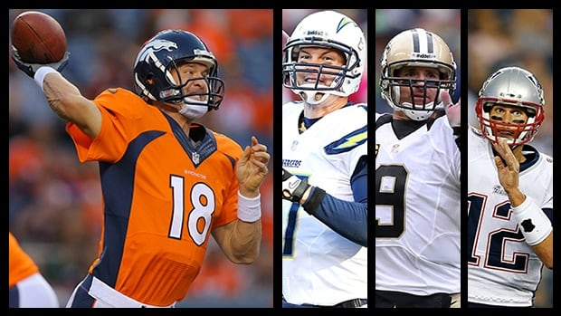 NFL superstars Peyton Manning, left to right, Philip Rivers, Drew Brees and Tom Brady are often imitated but rarely duplicated.