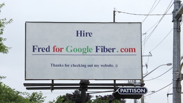 Fred Brumwell's billboard message appears across the street from the Google offices in Kitchener, Ont.