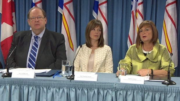 Premier Tom Marshall, Finance Minister Charlene Johnson and Newfoundland and Labrador Nurses' Union president Debbie Forward address the media at a news conference announcing a pension reform deal at Confederation Building in St. John's.