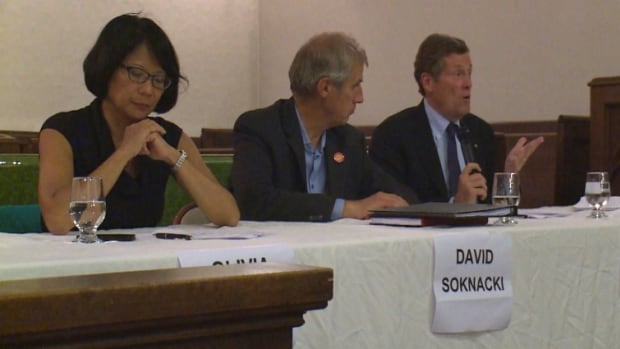 Mayoral candidates Olivia Chow, David Soknacki and John Tory debate at Greenwood Community Centre, on Sept. 2, 2014.