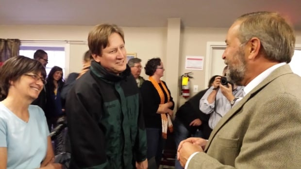 Tom Mulcair, the leader of the Official Opposition, on the campaign trail in Iqaluit, Nunavut.