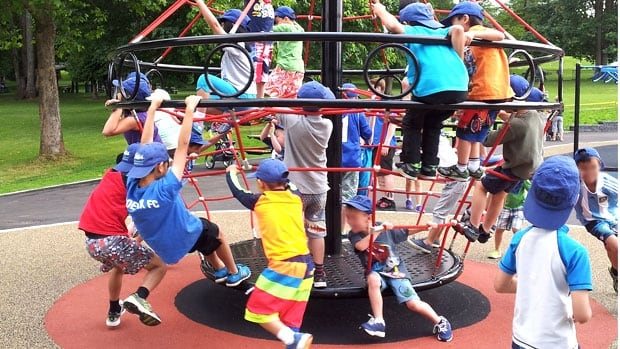 Students in Collingwood Neighbourhood House's day care program enjoy some time at Confederation Park
