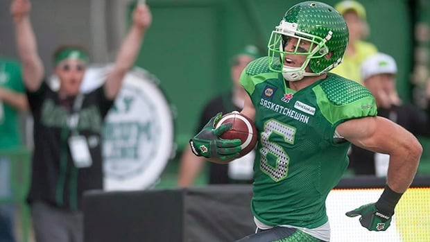 Saskatchewan Roughriders slotback Rob Bagg (6) was selected the top Canadian player in the CFL for the month of August.