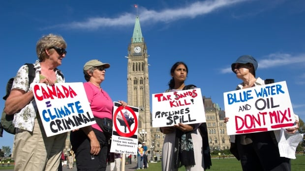 Oilsands protests, like this one on Parliament Hill in 2011, have been happening for years. Recently there has been many demonstrations against large-scale pipeline projects like Keystone XL and Northern Gateway.