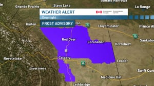 Frost advisory for southern Alberta
