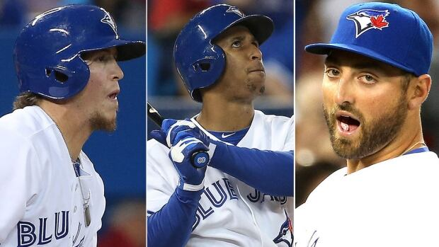 Blue Jays centre-fielder Colby Rasmus, left, has been benched four of the past five games in favour of rookies Anthony Gose, middle, and Kevin Pillar. Rasmus, who has hit a lowly .225 in 2014, is a free agent after the season.