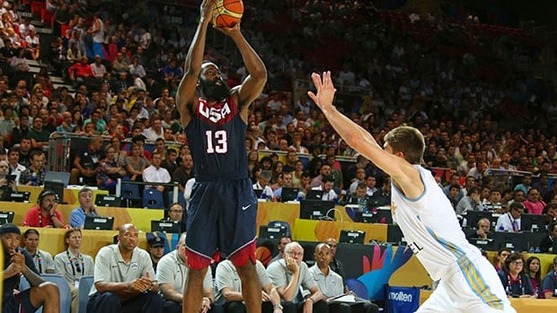James Harden, left, led the U.S. to victory over Ukraine with 17 points at the Basketball World Cup.