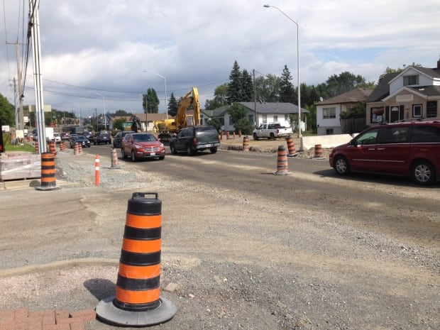 Construction on Regent Street in Sudbury