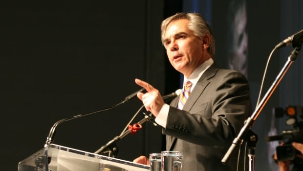 Jim Prentice addresses the crowd on Saturday after he was elected leader of the Progressive Conservative party by a decisive margin.