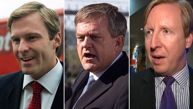 Polls suggest Liberal Leader Brian Gallant, left, holds a substantial lead over PC Leader David Alward, centre, and NDP Leader Dominic Cardy, heading into the campaign's final weekend.