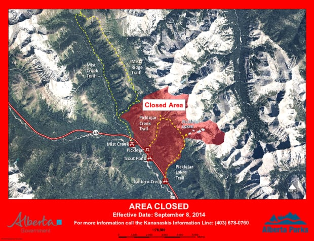 Kananaskis bear closure at Picklejar