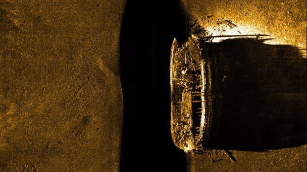 A sea floor scan reveals one of the missing ships from the Franklin expedition in an image released in Ottawa on Sept. 9.