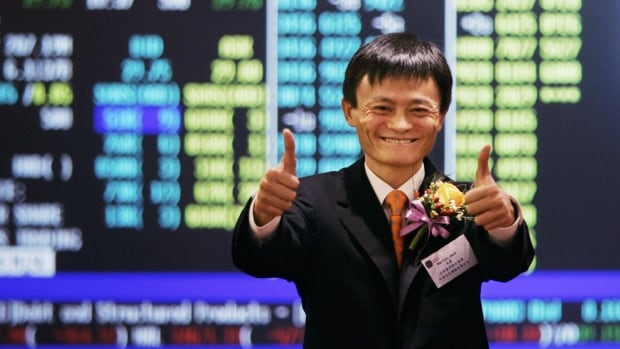 Jack Ma, founder and CEO of Alibaba, celebrates his company's listing ceremony on the Hong Kong Stock Exchange in 2007. He's taking part in roadshows to list in the U.S.