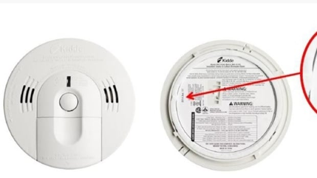 One of the Kidde alarms Health Canada has recalled manufacture date of in Jan. 2014.  Model 900-0119 (KN-COSM-IBACA).