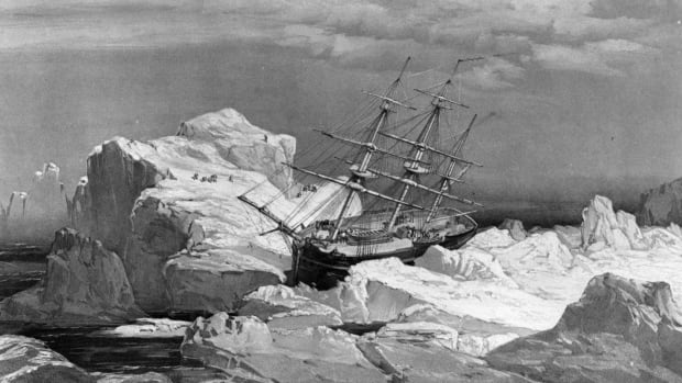 HMS Investigator, dispatched on the search for the doomed Franklin Expedition, is stranded in ice on the north coast of Baring Island in the Arctic, shown in this 1851 drawing. Climate change has eliminated roughly half of the polar ice cap, both in area and in thickness, making it much easier for ships to cruise through the northern waters, as well as spend time looking for shipwrecks.