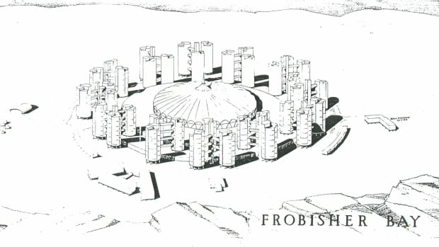 This 1958 design for a domed settlement accommodating 4,500 people was designed for the federal Department of Public Works as a possible plan for Frobisher Bay, later Iqaluit.