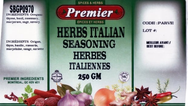 The recall applies to a variety of Premier and Konrads.ca spices sold in Nova Scotia, Ontario and Quebec with best before dates between March 18, 2016 to Sept. 9, 2016.