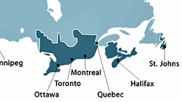This map of Canada, made by Apple to show customers where iPhone 6 handsets can be delivered, swaps the locations of Toronto and Ottawa.