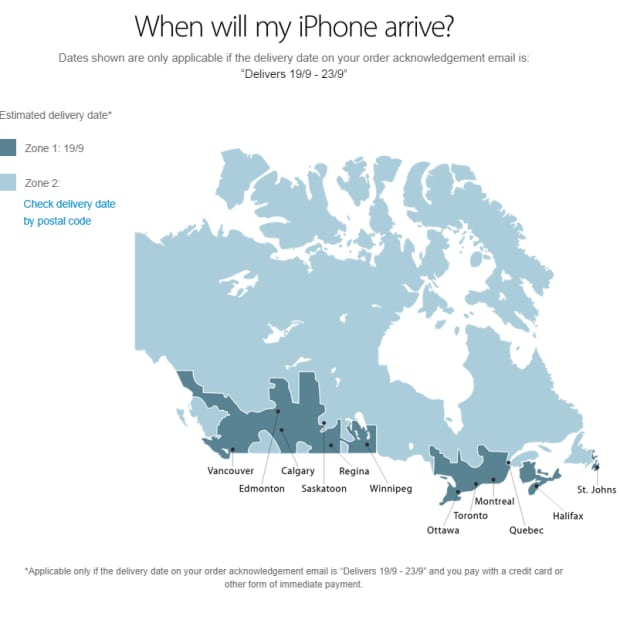 Apple Canada map