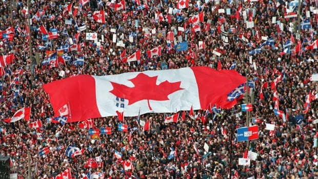 The giant Unity Flag stole the show at the mass rally in Montreal held just before the 1995 referendum on Quebec sovereignty.