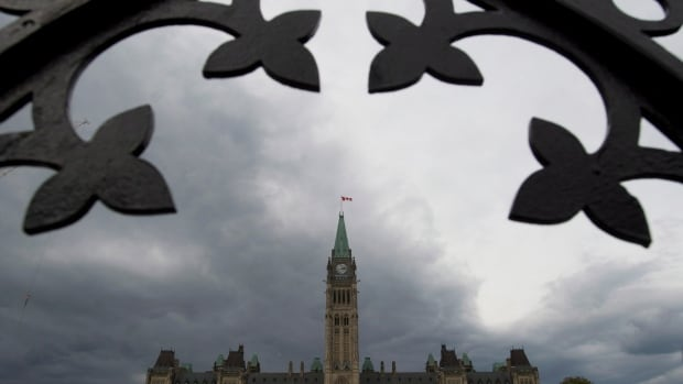 Dark clouds approach the Parliament buildings as Parliament resumes Monday September 15, 2014 in Ottawa.