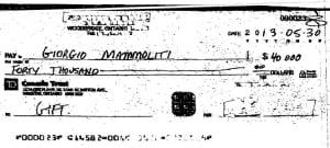 Giorgio Mammoliti cheque