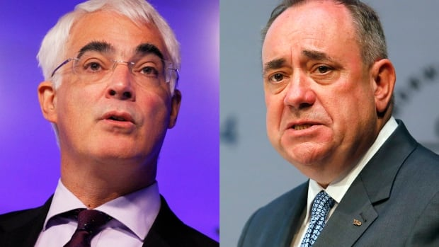 Labour MP Alistair Darling, left, has led the 'No thanks' campaign, while Scotland's First Minister Alex Salmond has championed the 'Yes Scotland' pro-independence vote in this week's referendum. The Yes side has made up considerable ground in recent months to make Thursday's vote a squeaker, polls suggest.