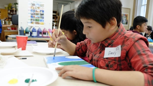Winnipeg School Division students working on a human rights art project. On Monday the Manitoba government announced a partnership with several education institutions, including the Winnipeg School Division, to create a new aboriginal language partnership.