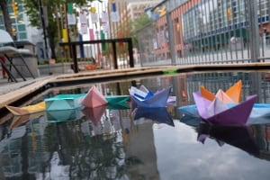 Parking Days Winnipeg origami boats and water