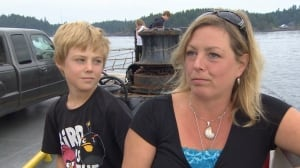 Lori Hewett and son on Quadra Island ferry