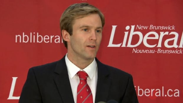 Liberal Leader Brian Gallant spoke to supporters in Grande-Digue early Tuesday morning, after election results were delayed by a glitch involving new electronic vote-counting machines.