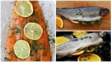 Cooking fish, salmon